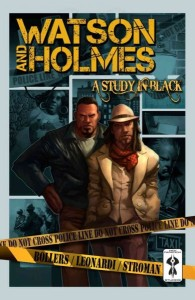 Cover art. Watson and Holmes standing before crime tape